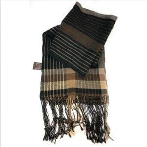 Danier Canada Scarf Black Brown Stripes 100% Wool